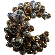 SALE Crescent Moon Gold & Silver colored Faceted Balls Hand Wired Pin