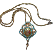 SALE Fabulous Limoges Center Filigree Turquoise Rhinestone Courting Couple Necklace