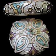 SALE Gorgeous Guilloche Enameled Pin and Bangle Bracelet Set