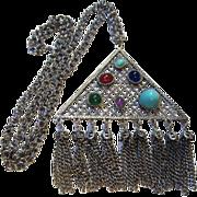SALE Unique Triangular Pendant faux Gemstones & Fringes