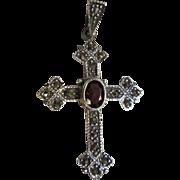 SALE Attractive Sterling Marcasite Garnet Cross Pendant