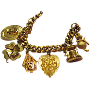Charm Bracelet 1950's with 6 Wonderful Charms