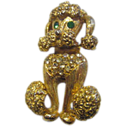 SALE Adorable Vintage Rhinestone Poodle Pin 1950's