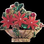 SALE Huge Vintage Poinsetta Christmas Pin Hong Kong