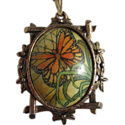 SALE Monarch Butterfly Pendant Most Unusual Frame Necklace