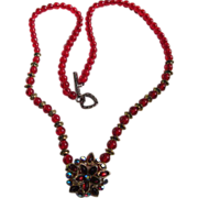 SALE Ruby Red Glass Beads with Iridescent Red Centerpiece Holiday