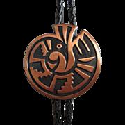 SALE Native American Copper Leather Bolo Tie