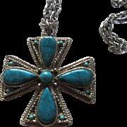 SALE Maltese Cross faux Turquoise Necklace