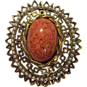Gorgeous Coral Matrix Stone with Seed Pearls (faux) Pin/Pendant