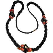 SALE Great Pretender! Onyx & Coral (faux) Necklace