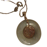 SALE Lovely Celadon Jade Chinese Pendant on Sterling Silver Chain