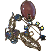 Fabulous Vintage Filagree Pin with Pink Moonglow & AB stones
