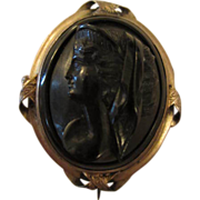 SALE Victorian Whitby Jet Cameo Mourning Pin