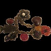 SALE Antiqued Bronze Charm Bracelet 8 Charms