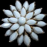 SALE Gorgeous Trifari White Milk Glass Vintage Brooch/Pin
