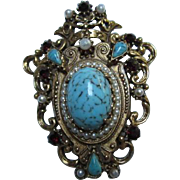 SALE Florenza Victorian Revival Turquoise Garnets Pearls (faux)