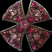 SALE Regency signed Raspberry Maltese Cross Brooch/Pin