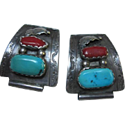 SALE Native American Sterling Turquoise Coral Set Watch Tips B&N Naastacio signed
