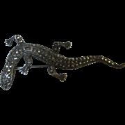 SALE Art Deco Sterling Marcasite Gecko Lizard