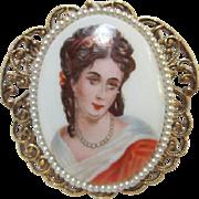 SALE Limoges Portrait Victorian Revival Pin/Pendant