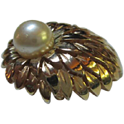 SALE Stunning Trifari Vintage Domed Pin with Huge Pearl (faux)