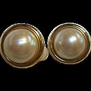 SALE Anne Klein Classic Mobe Pearl Clip Earrings