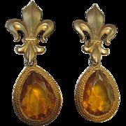 SALE Maxine Denker Statement Citrine Teardrop Vintage Earrings on Fleur de Lis Clips