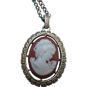 SALE Unique Vintage Double sided Cameo Pendant on Chain