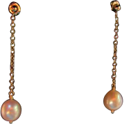 SALE 14K  Dangling Large 10mm Cultured Pearls Pierced Earrings