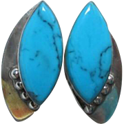 SALE Turquoise & Sterling Native American Earrings with Clip Backs