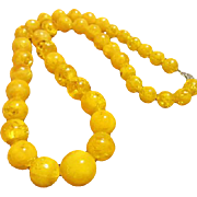 """SALE Gorgeous Egg Yolk Yellow Lucite 24"""" Graduated Beads Necklace"""