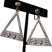 SALE Unusual Siam Sterling Nielloware White Enamel Hanging Earrings