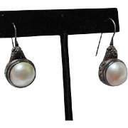 SALE Gorgeous Mobe Pearls in Beautiful Intricate Sterling Silver setting on French wires 925