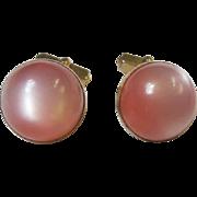 Vintage Pink Moonglow Cufflinks Signed