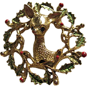 SALE Fabulous Gerry's signed Rudolph Reindeer Christmas Wreath Pin