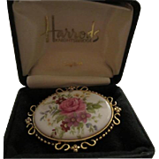 SALE Harrods C.R. Hettel signed Beautiful Flower Porcelain China Brooch Pin in Original Box ..