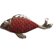 SOLD Gorgeous Natural Carved Red Coral and Cultured Pearl Sterling Silver Fish Pin artist mark