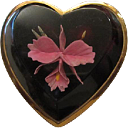 SALE Orchid Flower Beveled Lucite Heart Compact Original Powder Puff Mirror Art Deco Vanity ~