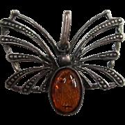 SALE Art Deco Amber Sterling Silver Butterfly Pendant