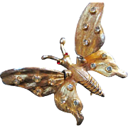 SALE Beautiful Butterfly Trembler Wings encrusted with Rhinestones Brooch/Pin