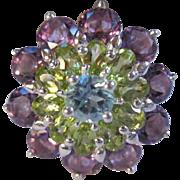 SALE Gorgeous Sterling Silver Amethyst, Peridot & Blue Topaz  Zircon Ring Size 8