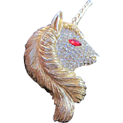 SALE Rare Sphinx Of England Large Austrian Crystal Fantasy Unicorn Pin/Brooch