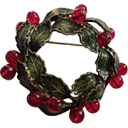 SALE Gorgeous Vintage Green Enamel Wreath with Ruby Red Glass Dangles  Brooch/Pin