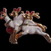 SALE Vintage White Enamel Reindeer Rhinestone Collars Christmas Holiday Pin