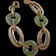 SALE Art Deco Peking Glass Etched Two Tone Bracelet