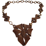 SALE Early Hand Carved Wooden Necklace Thumb Clasp