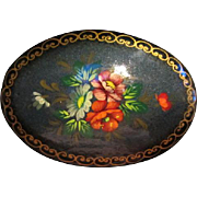 SALE Signed Hand painted Russian Oval Flower Art Brooch/Pin