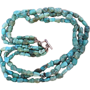 SALE Gorgeous 3 Strand Natural Turquoise Necklace Sterling Clasp 925 USA signed