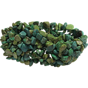 SALE Natural Blue & Green Turquoise Wide Stretch Bracelet