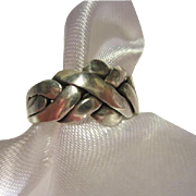 SALE Vintage Sterling Silver Puzzle Ring Size 7.5